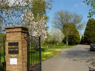 Image of the entrance to Woodwells Cemetery