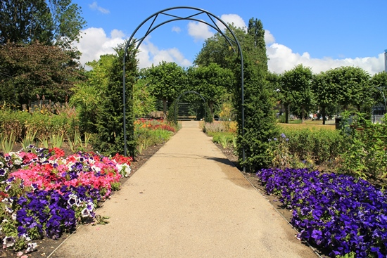 Flower garden path in the revamped Water Gardens